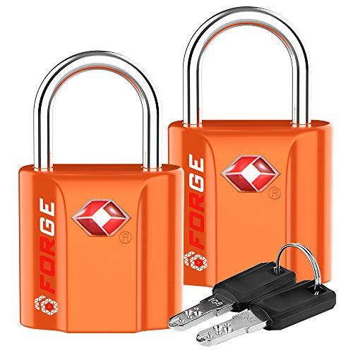 Orange 2 Pack TSA Approved Luggage Locks Ultra-Secure Dimple Key Travel Locks with Zinc Alloy Body