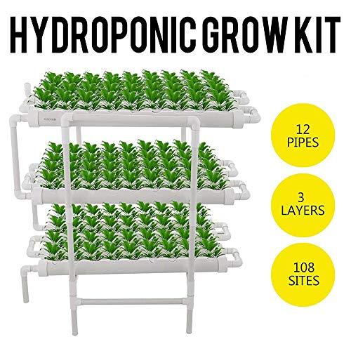 ZHENN Kit de Culture Hydroponique 12 Tuyaux Système de Culture Hydroponique Système Plantes Jardin Culture l'eau pour Balcon Maison 108 Sites Blanc,96x50x105cm