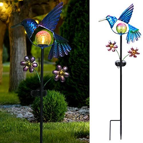 Afirst Solar Garden Stake Lights - Outdoor Waterproof Decorative Solar Lights, Hummingbird LED Warm Crackled Glass Globe Lights for Walkway, Pathway, Yard, Lawn