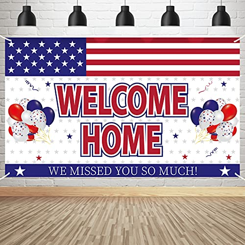 Patriotic Party Decorations Welcome Home Banner We Missed You So Much Sign - Deployment Returning Backdrop Supplies - Military Army Homecoming Party Poster Décor
