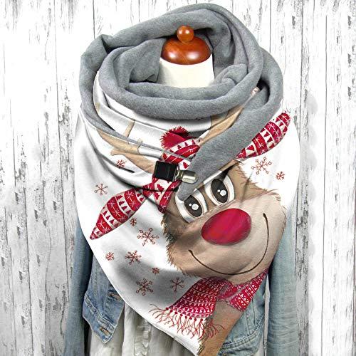 Bufandas Mujer Invierno,Vintage Winter Christmas Shawl Dibujos Animados Rojo Sombrero De Navidad Cabeza De Ciervo Animal Print Blanco De Gran Tamaño Manta De Cachemira Bufanda Con Borla Christmas Gif