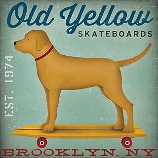 Buyartforless Old Yellow Skateboards Golden Yellow Lab Dog on Skateboard Brooklyn NY by Ryan Fowler 12x12 Skateboard Signs Dogs Labrador Animals Art Print Poster Vintage Advertising