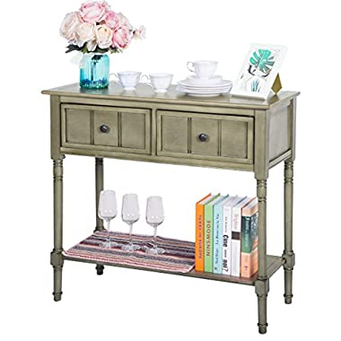 Harper&Bright Designs WF039593EAA Console Table Sideboard Traditional Design with Two Drawers and Bottom Shelf Acacia Mangium