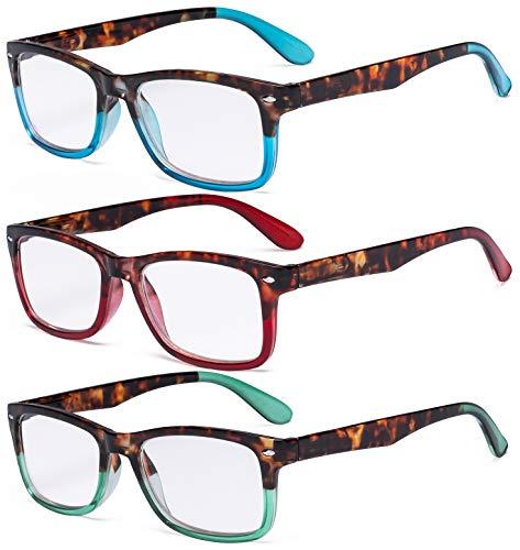 Eyekepper 3 Paia Le signore Occhiali da Lettura alla Moda Lettore Comodi Occhiali da Vista per Lettura Donna +1.50