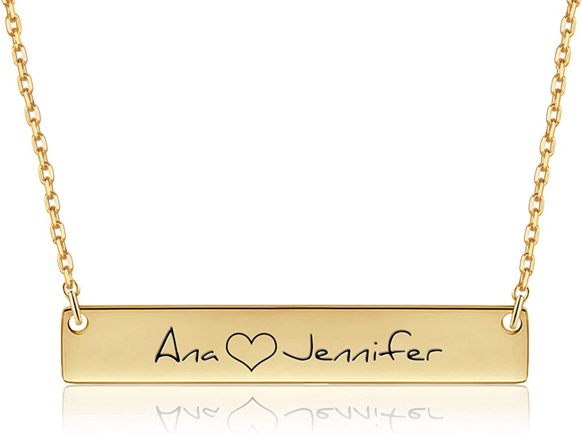 Yoke Style Personalized Bar Necklace Engraved Sale price Custom Name Now free shipping Neckl