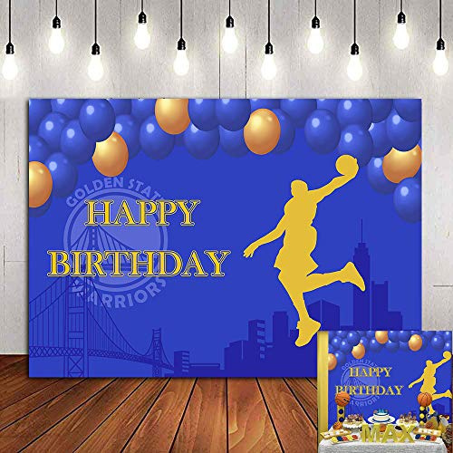 Blue Gold Photo Background Baby Boys Happy Birthday Supplies Basketball Sport Slam Dunk NBA Photography Backdrop 7x5ft Golden State Warriors Party Decorations Vinyl Kids Photo Booth Props Cake Table