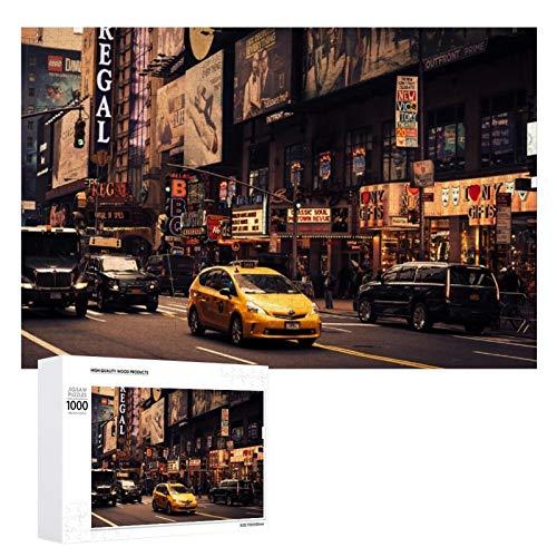 Promini Puzzle de madera de los Estados Unidos Nueva York Street Taxi Cityscape Cab blanco color13 1000 PCS Desafiante Puzzle Juego Divertido Juguetes Familiares Juegos Educativos