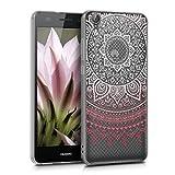 kwmobile Funda Compatible con Huawei Y6 II - Carcasa de TPU y Sol hindú en Rosa Claro/Blanco/Transparente