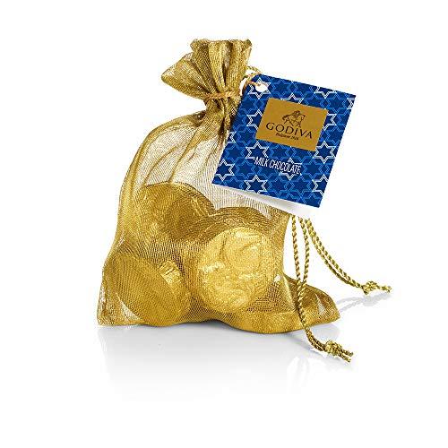 Godiva Chocolatier Assorted Hanukkah Milk Chocolate Gold Coin Bag, Holiday Collection, 8 pc.