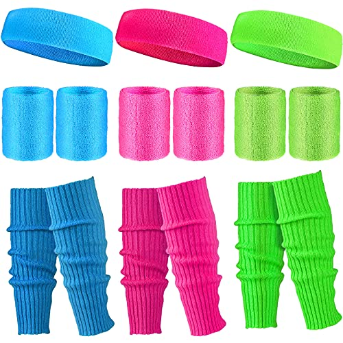 3 Pairs of Neon Ribbed Legwarmers and Sweatbands Set