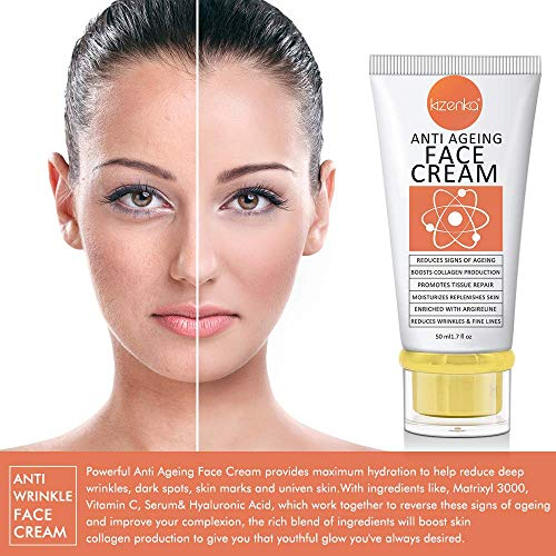 51ZflMRRDlL - POWERFUL Age Defying Face Cream, Anti Aging Moisturizer, Anti Wrinkle Cream with Matrixyl 3000 Reduces Signs Of Ageing Vitamin C Hyaluronic Acid, Dark Spots Removal Spots Hyper Pigmentation