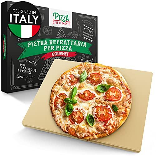 Pizza Divertimento Pietra refrattaria per forno e griglia a gas - Con pala per pizza - Pietra refratteria in cordierite fino a 900 °C - Base croccante e condimento succulento