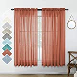 Terracotta Red Curtains 45 Inch Length for Kitchen Windows Set 2 Panel Pocket Small Window Semi Sheer Linen Textured Short Curtains for Bedroom Kids Boys Room Brick Rust Burnt Orange 52x45 Inches Long