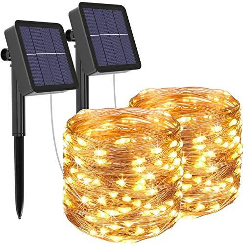 [Set di 2] ZWOOS Luci Solari Esterno, 20m 200 LED Catene Luminose 8 Modalità Luci in filo di rame Impermeabile Per Giardino, Natale, Patio, Cancello, Matrimonio - Bianco Caldo
