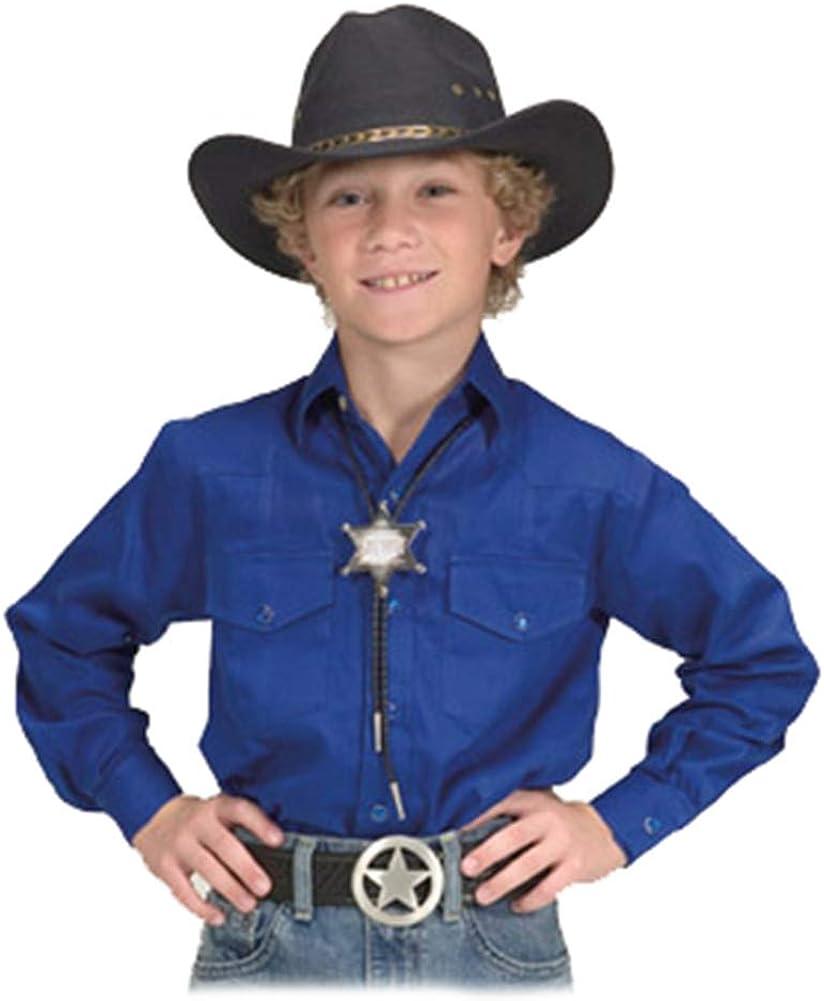 Children's Solid Button Down Cotton Western Cowboy Shirt - Royal - XL