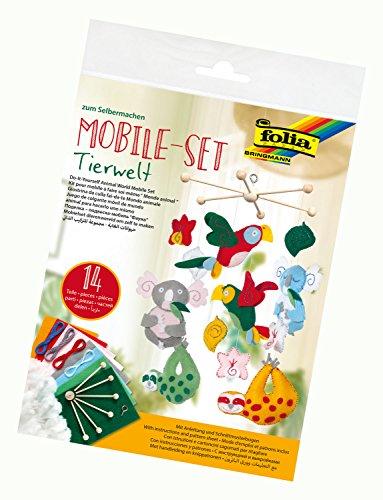 folia 22869 - Mobile Set Tierwelt zum Selbermachen, mit 14 Teilen, Anleitung und Schnittmusterbogen - Komplettset zur Erstellung eines Mobiles