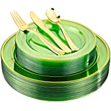 BUCLA 150PCS Green And Gold Plastic Plates - Disposable Gold Plastic Silverware -Clear Green Plastic Dinnerware For Wedding&Parties, Easter, Mother's Day