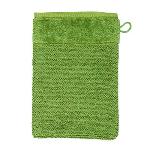 MÖVE Bamboo Luxe Gant de Toilette 15 x 20 cm, Fabriqué en Allemagne, 60% coton / 40% viscose en pulpe de bambou, Peridot (Vert)