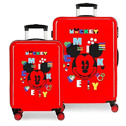 Disney Mickey Shape Shifter Juego de Maletas Multicolor 55/68 cms Rígida ABS Cierre de combinación Lateral 104L 2,66 kgs 4 Ruedas Dobles Equipaje de Mano