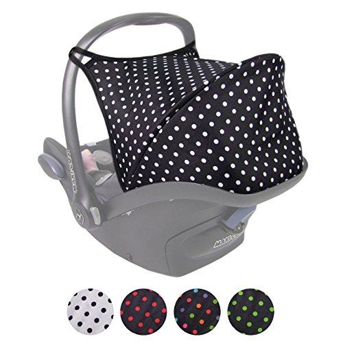 BAMBINIWELT Sonnenverdeck UV50+ für Maxi-Cosi Cabriofix, Sonnendach Babyschale, Autositz PUNKTE (schwarz - weiße Punkte) XX