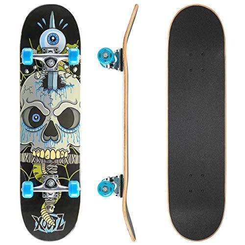 Xootz Kids Skateboard per Principianti Completi Double Kick Trick, tavola...
