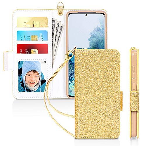 """Skycase Galaxy S20 Case 5G 6.2"""", Samsung Galaxy S20 Wallet Case,[RFID Blocking] Handmade Flip Folio Wallet Case with Card Slots and Detachable Hand Strap for Samsung Galaxy S20 6.2"""" 2020,Bling Gold"""