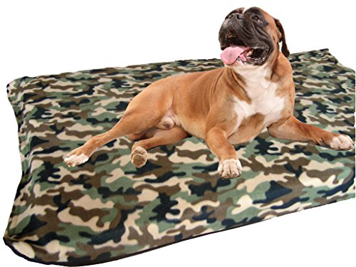 KosiPet Large Deluxe High Density Foam Mattress Waterproof Dog Bed Camo Fleece