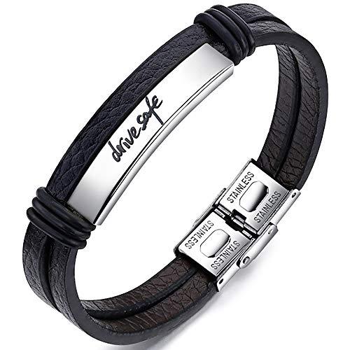 Gleamart Drive Safe Leather Rope Bracelet Stainless Steel Lock Wristband Bangle for Men Women