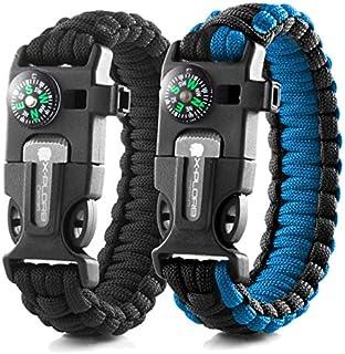X-Plore Gear Emergency Paracord Bracelets | Set of 2| The Ultimate Tactical Survival Gear| Flint Fire Starter, Whistle, Compass & Scraper | Best Wilderness Survival-Kit - Black(R)/Blue(R)