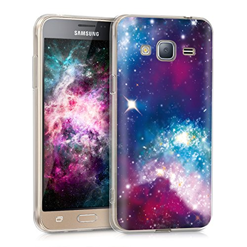 kwmobile Hülle kompatibel mit Samsung Galaxy J3 (2016) DUOS - Handyhülle - Handy Case Space Mehrfarbig Pink Schwarz