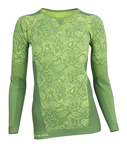STARK SOUL Damen Seamless Funktionsunterwäsche, Thermo Unterwäsche, Langarm Shirt, Grün, Gr. L/XL