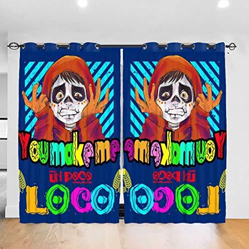HONGYANW Verdunkelungsvorhänge Make Me Un Poco Loco Ösen Thermoisoliert Raum Verdunkelung Vorhang für Schlafzimmer Wohnzimmer 132,2 x 182,9 cm