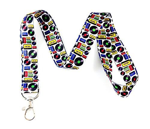 Musik Motto Lanyard Schlüsselanhänger ID Badge Holder Record & Cassette