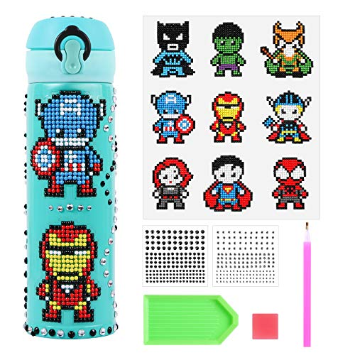 Decorate Your Own Water Bottle with Hero 5D Diamond Painting Stickers Kits & Glitter Gems, Creative DIY Art & Craft Kits for kids,Best Gift for Children,BPA Free Stainless Steel Insulated Mug-Blue