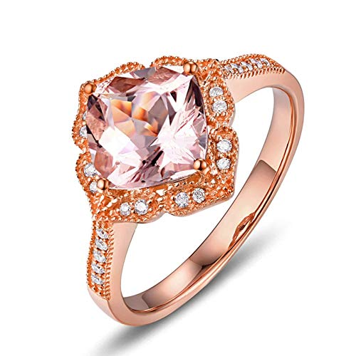 Beydodo Ring Rotgold 750 Filigran 2.08ct Quadrat Beryll Verlobungsringe für Damen mit Diamant Gr.57 (18.1)