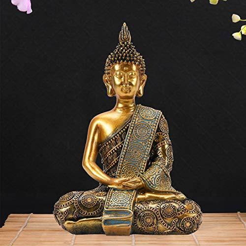 Nacome Meditating Thai Buddha Statue Figurine,Zen Garden Buddha Sculpture-Indoor/Outdoor Decor for Home,Garden,Patio,Deck,Porch Yard Art Decoration,polyresin,8 inch(Gold)
