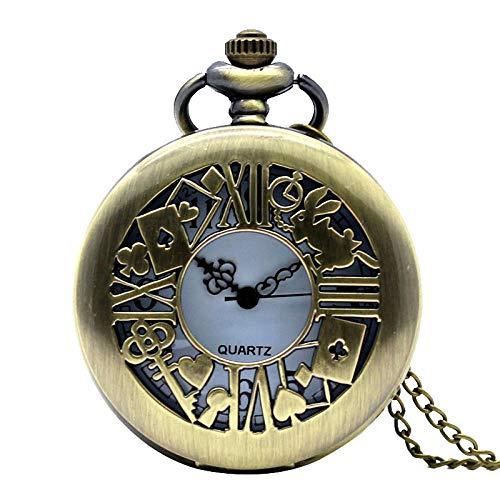 LQHBXX Montre de Poche Bronze Antique Alice in Wonder Time thème Montre de Poche Lapin Porte-clé Montre avec Collier