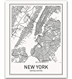 New York Poster New York City Map Prints NYC Downtown Print Black and White Minimalist Art Scandinavian Map Wall Art NYC Poster for Living Room Bathroom 8x10 Unframed Wall Print
