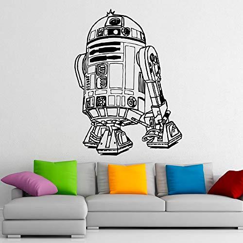 Hollywood Sci-Fi Movie Star Cute R2-D2 Smart Robot Wars Pegatina de pared Vinilo Art Calcomanía Niño Niños Ventiladores de guardería Dormitorio Sala de estar Estudio Decoración para el hogar