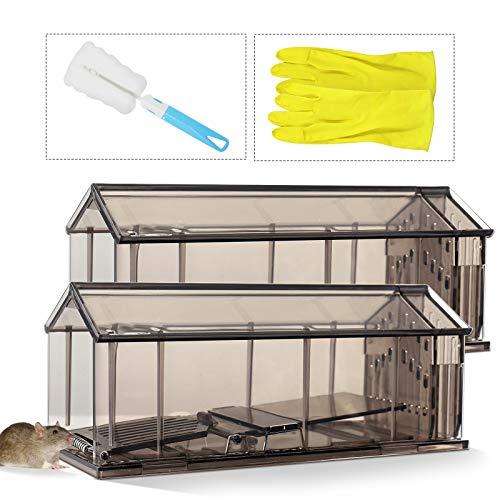 PHYLES Mausefalle Lebend, 2er Set Rattenfalle mit Bürste und Handschuh, Tierfreundliche Lebendfallen mit Luftlöchern für Mäuse, Leicht zu Verwenden und Hygienisch für Küche, Haus, Garten