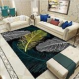 Alfombra moderna para el hogar, sala de estar, dormitorio, gran área alfombra, suave, antideslizante, fácil de limpiar, color amarillo roto, verde plumas, 120 x 160 cm