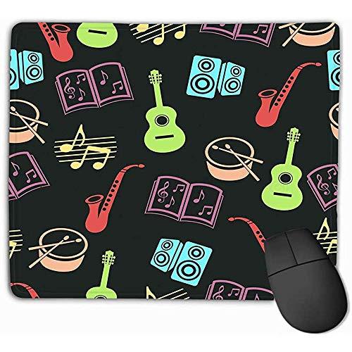 Polssteun Muismat, Muismat Muziek Accessoires Silhouet Tekenen Kleurrijke Gitaar Drum Saxofoon Loudspeakers Opmerkingen Retro Rechthoek Rubber Mousepad 25X30Cm