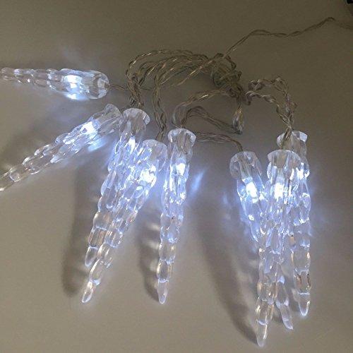 Catena Luminosa A LED, 8 Ghiaccioli, Decorazione Natalizia, Luce Bianca Fredda