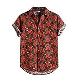 Andouy Mode Hawaii Hemd für Männer Strand Party Holiday Lässige Kurzarm Drucken Knopf Hemden T-Shirt(3XL.Rot)