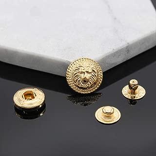 SQWK 10 piezasLion Brass Snap Fastener Press Stud Tipo de remache Coser cuero Botón Artesanía para ropa Ropa Accesorios de bricolaje 20mm Oro