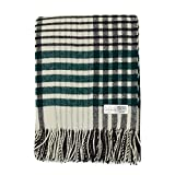Cozy Blankets | Wool Blanket/Throw | 100% New Zealand Wool | Perfect for Home and Outdoors | Virgin Wool Blanket with Fringes 55'x79'(140 x 200 cm) (White/Black/Green.)