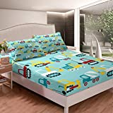 Juego de sábanas de coche de dibujos animados para niños y niñas, juego de cama para cama de coches de construcción, tamaño King con 2 fundas de almohada