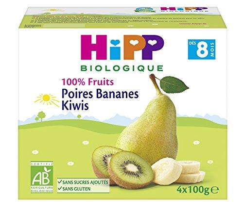 Hipp Biologique Poires Bananes Kiwis Dès 8 Mois 4 Coupelles de 100 g - Pack de 6