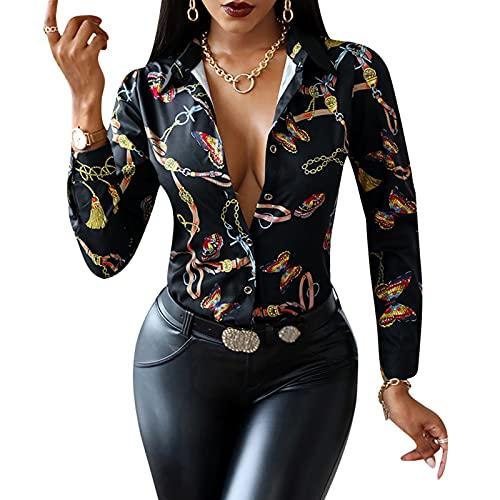 MAHUAOYIXI Camicia Donna Elegante con Scollo a V Stampa Floreale Camicetta da Ufficio Maglietta a Manica Lunga (Nero, M)