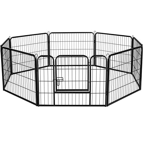 Topeakmart 8 Panel 24-inch Dog Pen Playpen-Heavy Duty Metal Pet Play Pens for Puppy Houses for Small Medium Dogs Exercise Fence Fencing Barrier Kennel w/Gate Outdoor Indoor Black